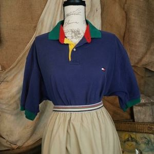 Vintage Tommy Hilfiger colorful blue polo shirt.